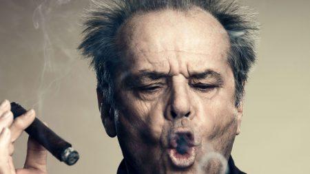 jack nicholson, cigar rings, face