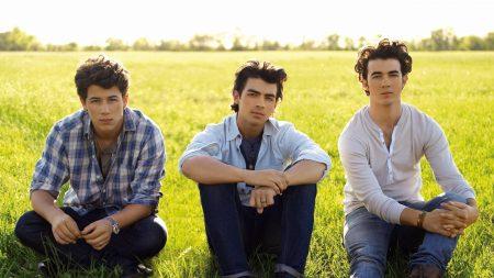 jonas brothers, grass, sun