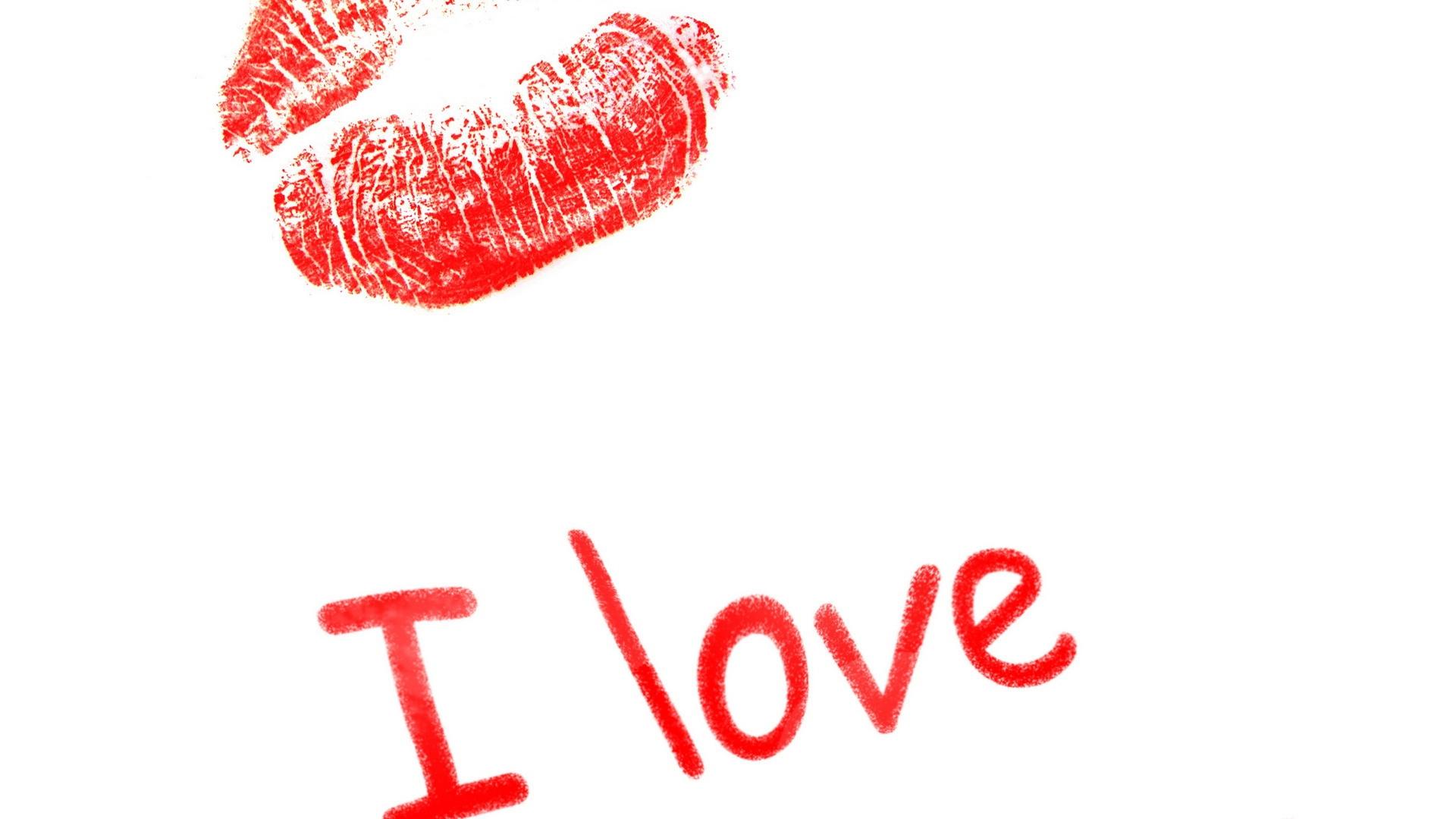 Download Wallpaper 1920x1080 Kiss Lips Lettering Love