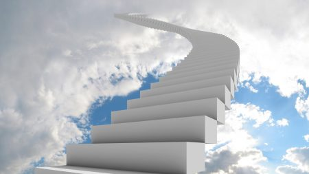 ladder, clouds, way