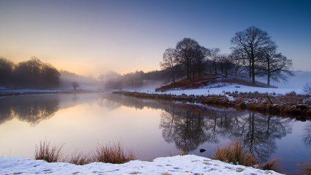lake, fog, morning