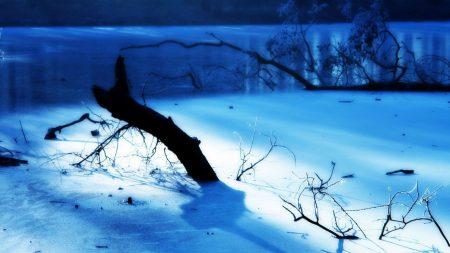 lake, frost, morning