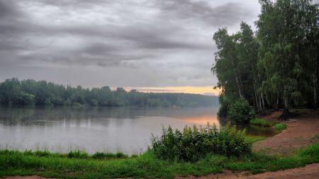 lake, morning, cloudy
