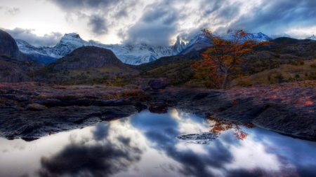 lake, mountains, reflection