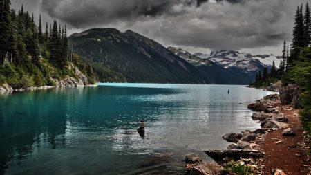 lake, mountains, stones