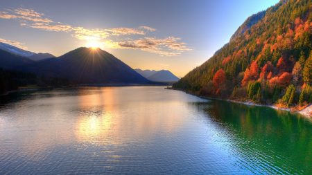 lake, mountains, sun