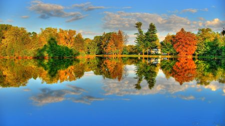 lake, reflection, trees