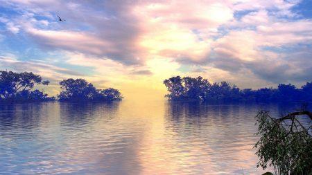 lake, trees, sky