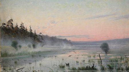lake, wefts, fog