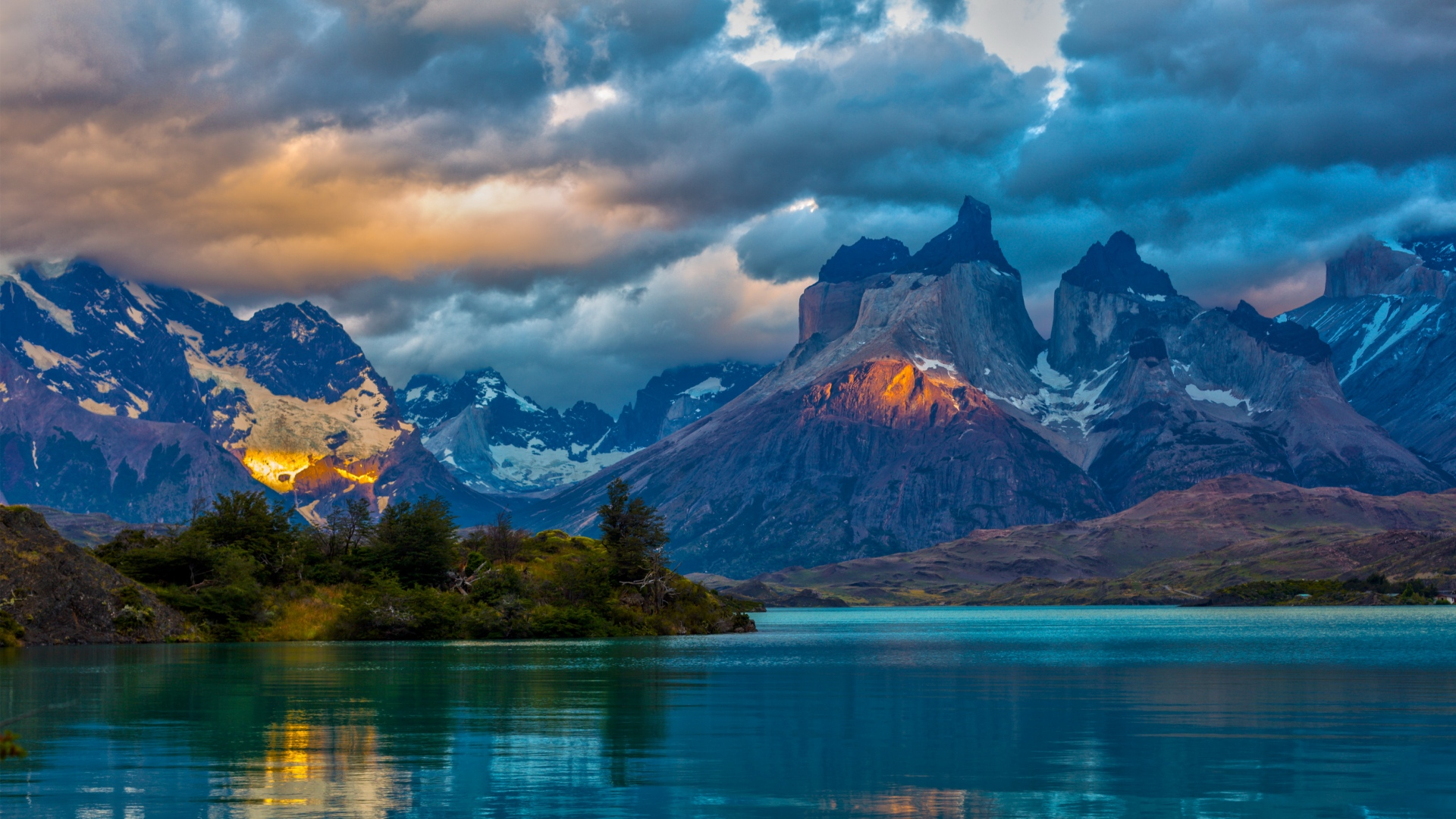 download wallpaper 1920x1080 landscape, argentina, mountain, lake