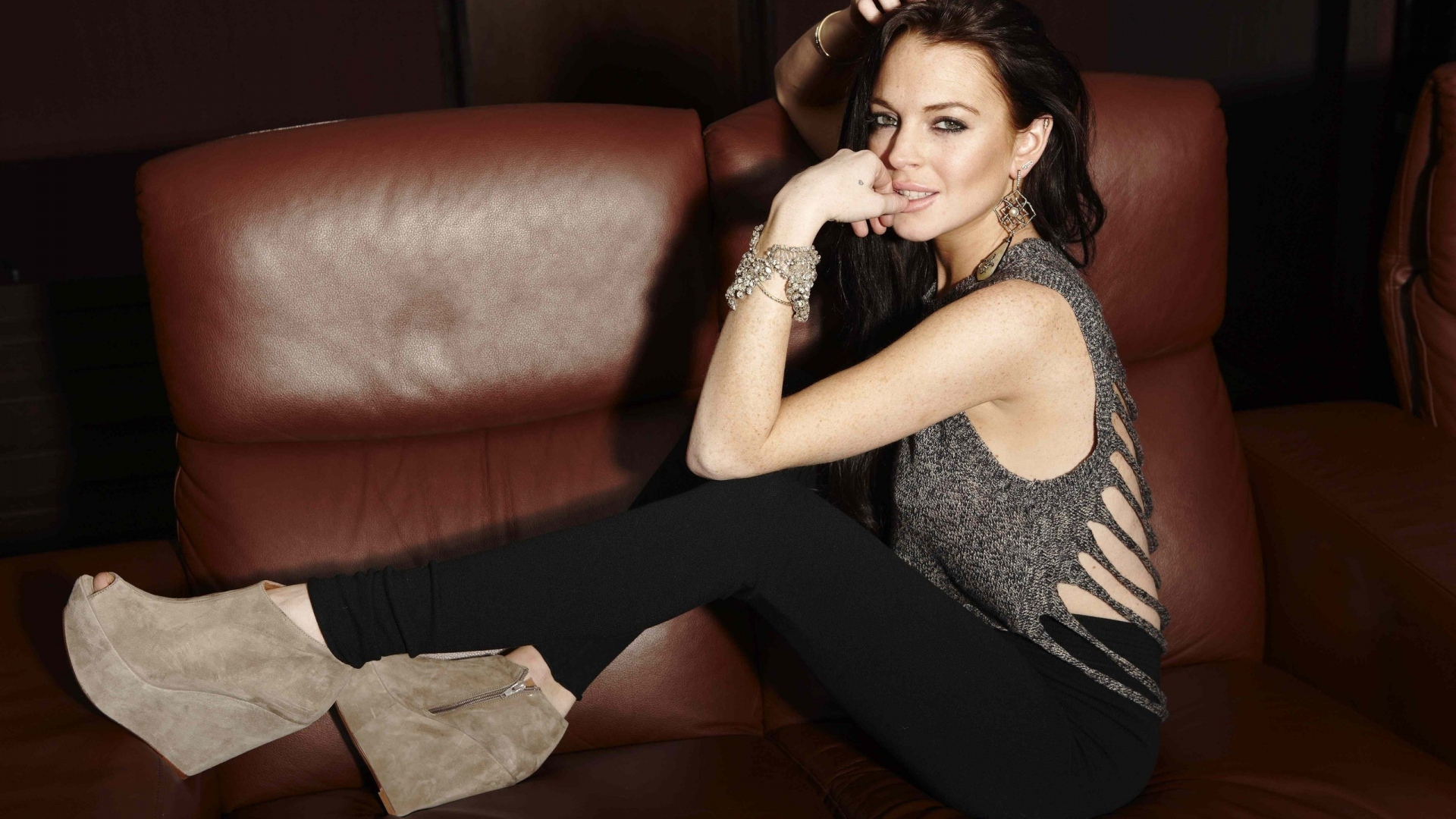 download wallpaper 1920x1080 lindsay lohan  brunette  sofa Sofa in Room Small Room Couches Sofas