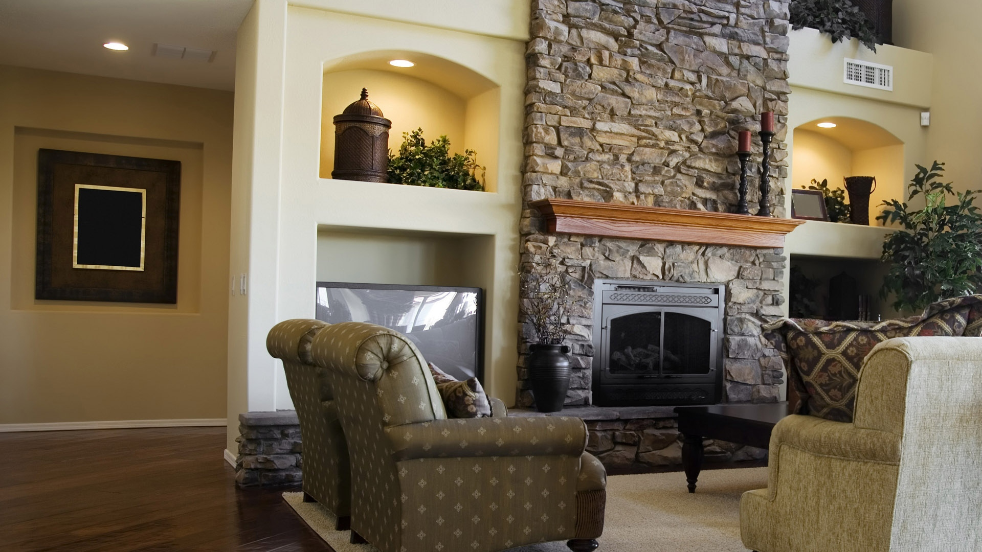 download wallpaper 1920x1080 living room chair fireplace style