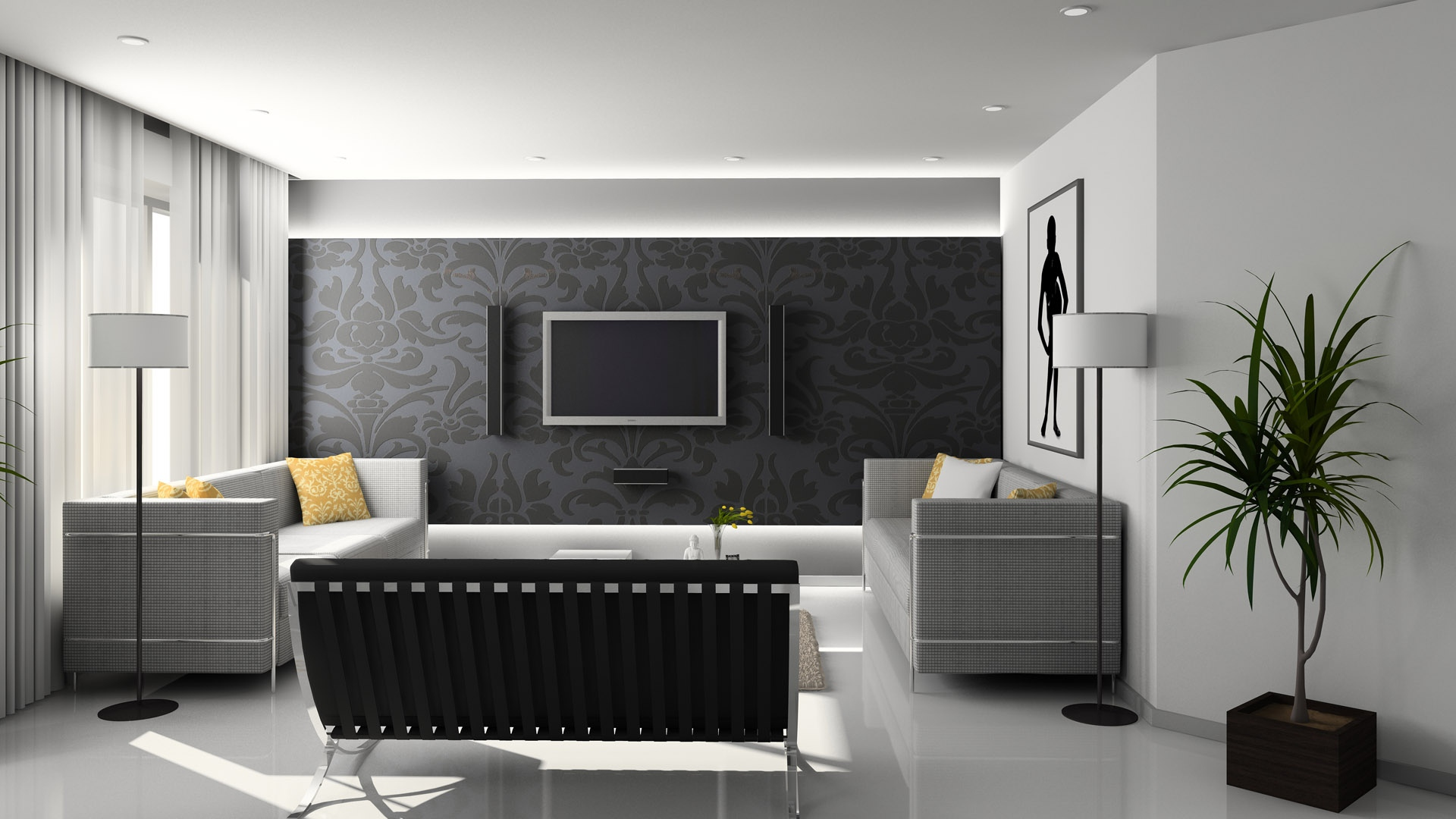 Download Wallpaper 1920x1080 living room, room, style, sofa, tv ...