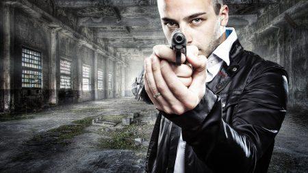 man, gun, weapon