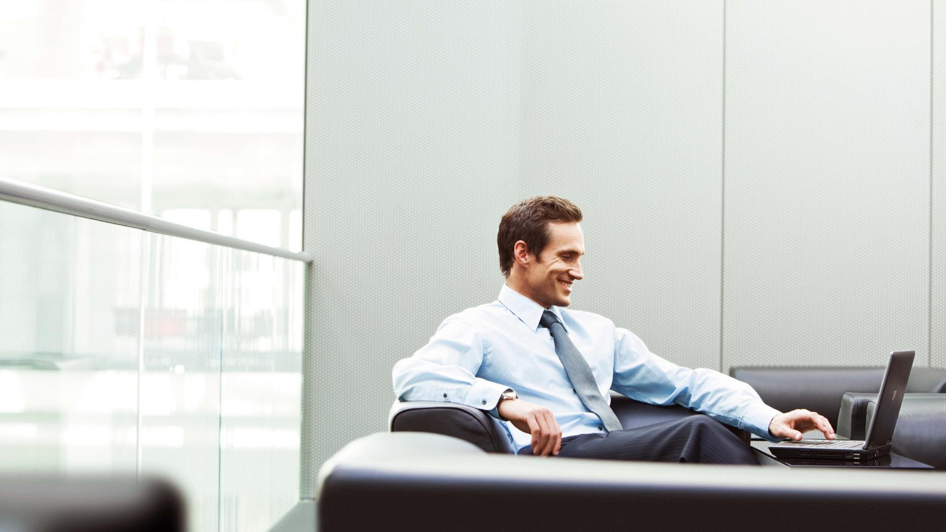 Download Wallpaper 1920x1080 Man Office Businessman Smile Laptop