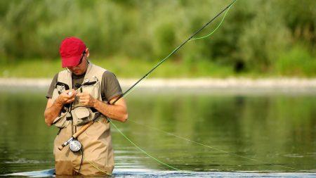 man, river, fishing