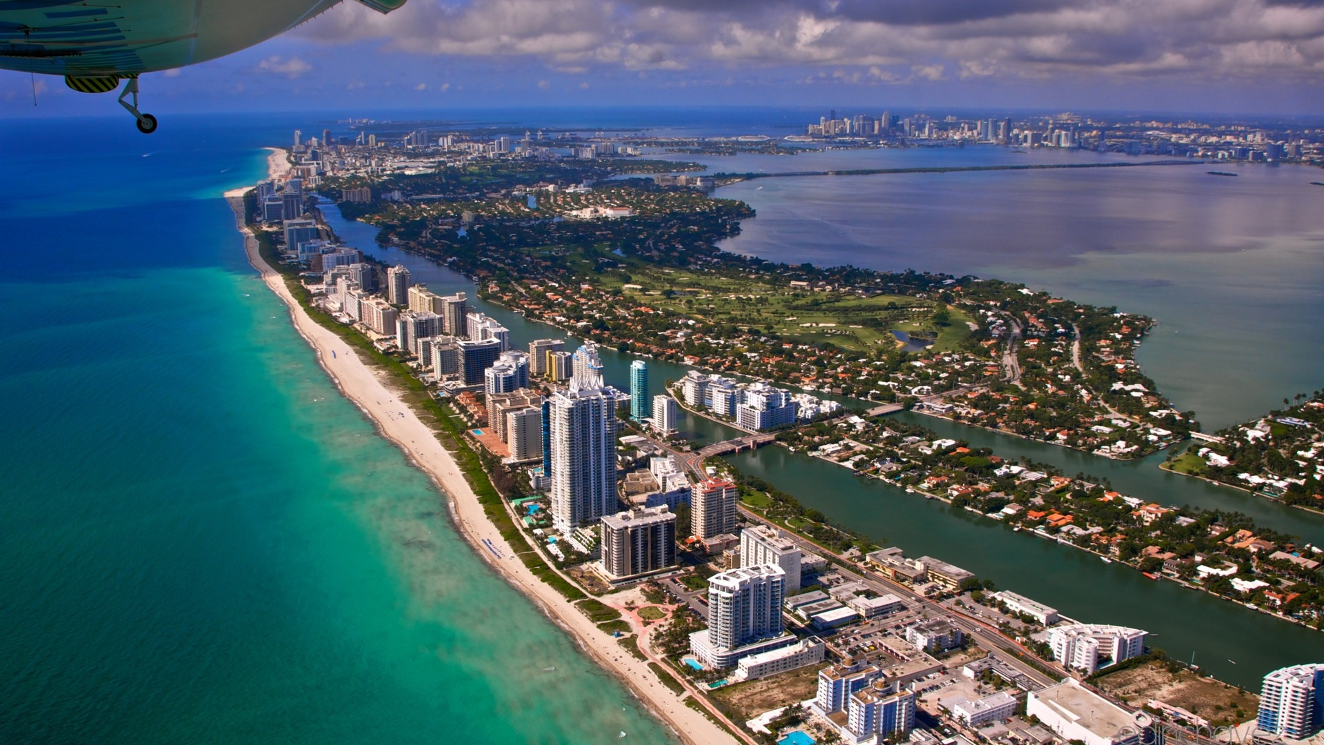 Download Wallpaper 1920x1080 Miami City Flight View From The