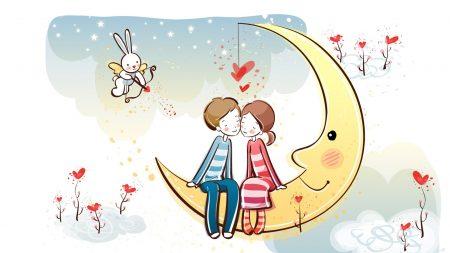 moon, couple, love