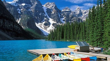 moraine lake, boats, canada