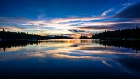 morning, lake, sky
