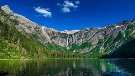 mountain, lake, grass