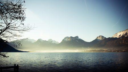 mountains, fog, lake