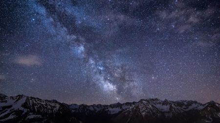 mountains, night, sky