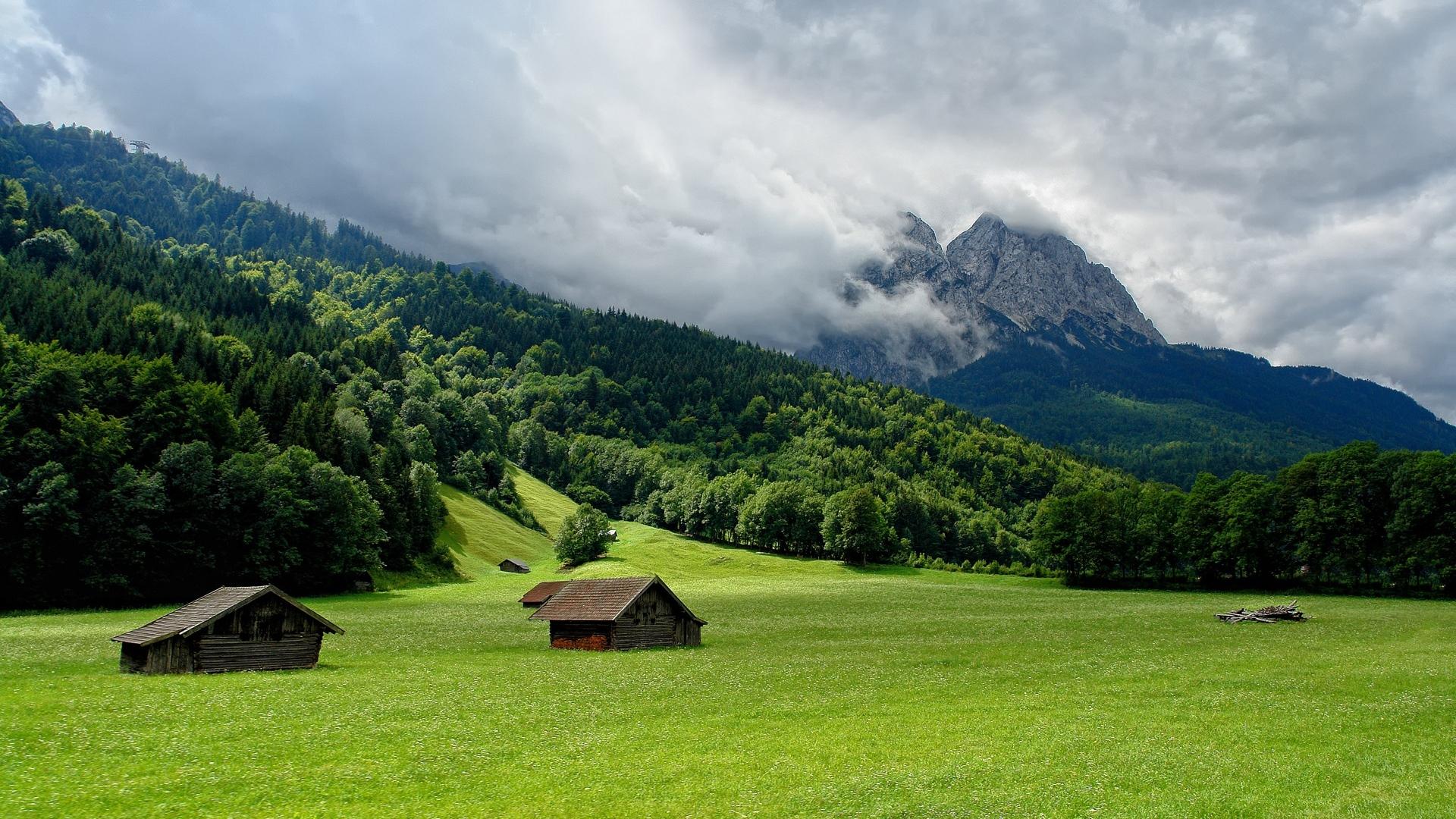 Download Wallpaper 1920x1080 Mountains Plain Lodges