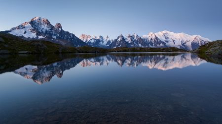 mountains, reflection, evening