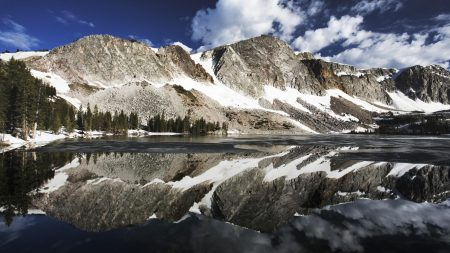 mountains, reflection, snow