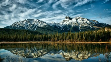 mountains, reflection, wood
