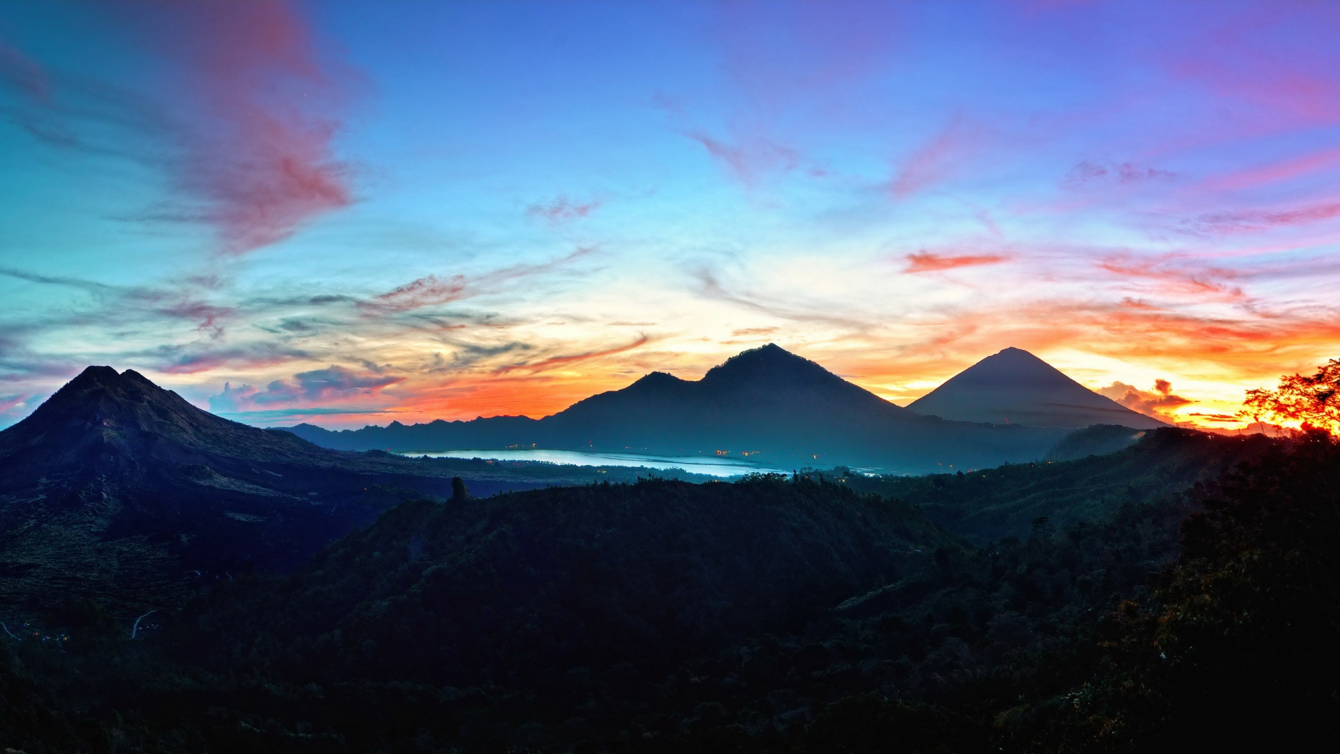 download wallpaper 1920x1080 mountains, sky, bali, sunrise
