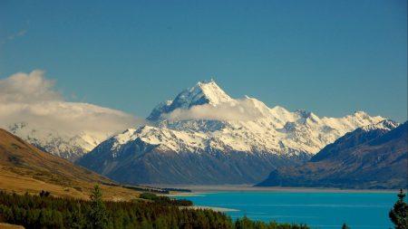 mountains, sky, lake
