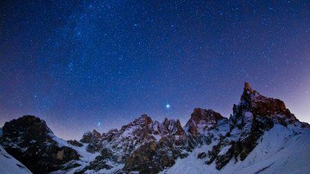 mountains, sky, night