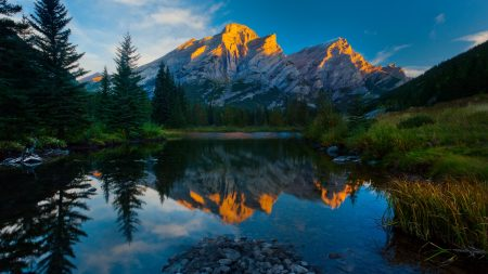 mountains, sky, reflection