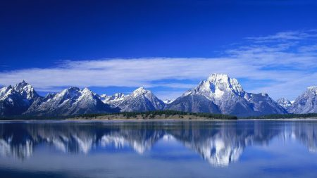 mountains, snow, sky
