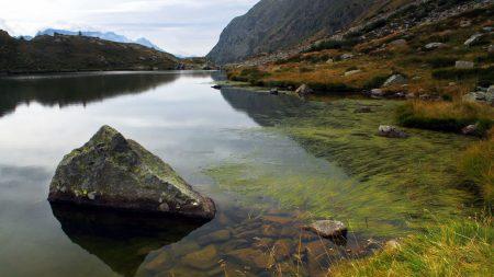 mountains, the lake, stones