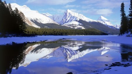 mountains, tops, reflection