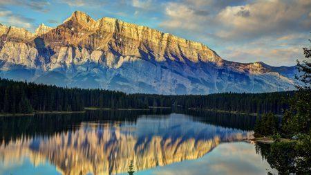 mountains, trees, reflection