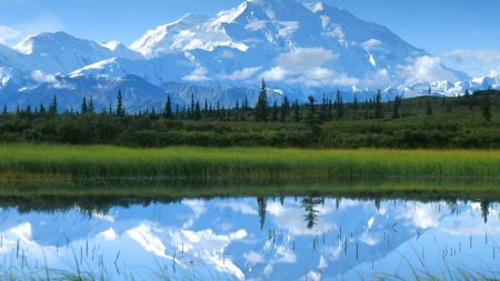mountains, water, reflection
