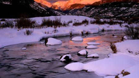 mountains, winter, morning