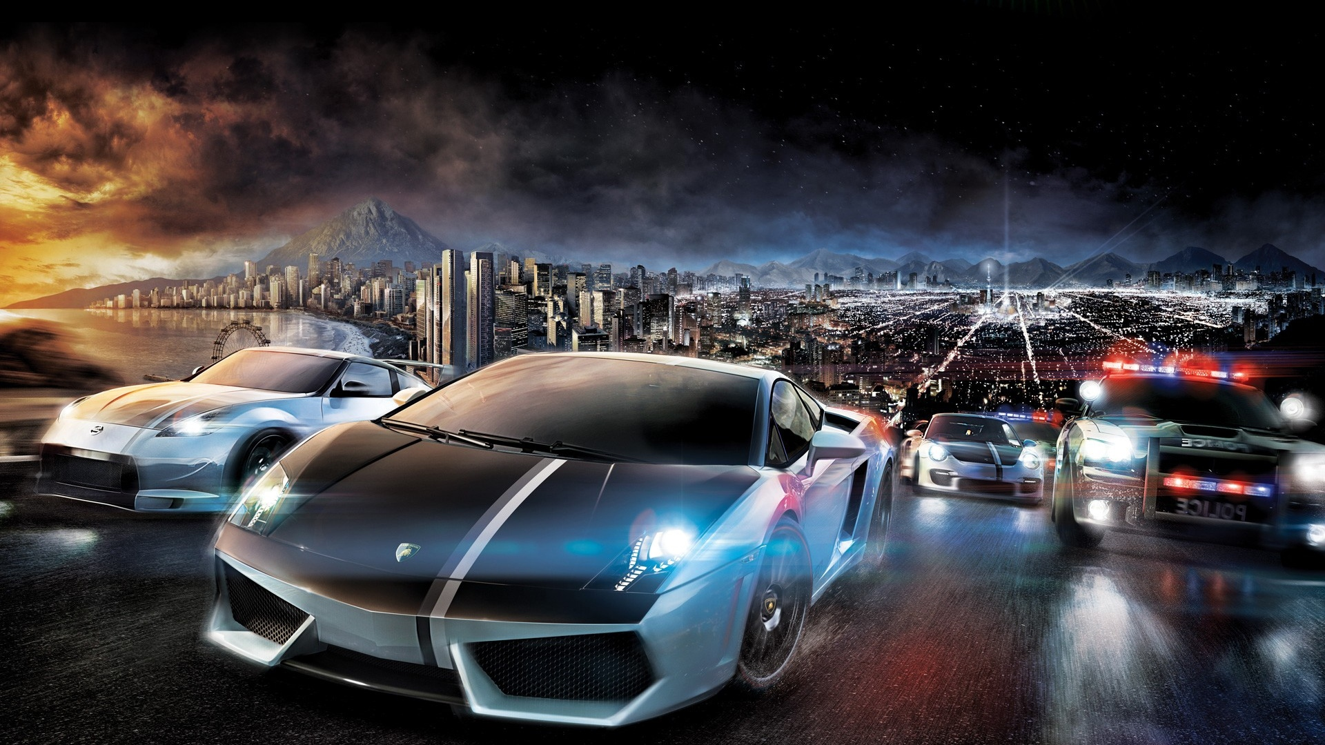 download wallpaper 1920x1080 nfs, need for speed, car, crash, police