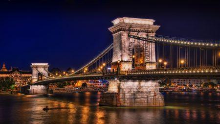night, river, chain bridge