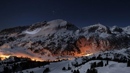 night, stars, alps