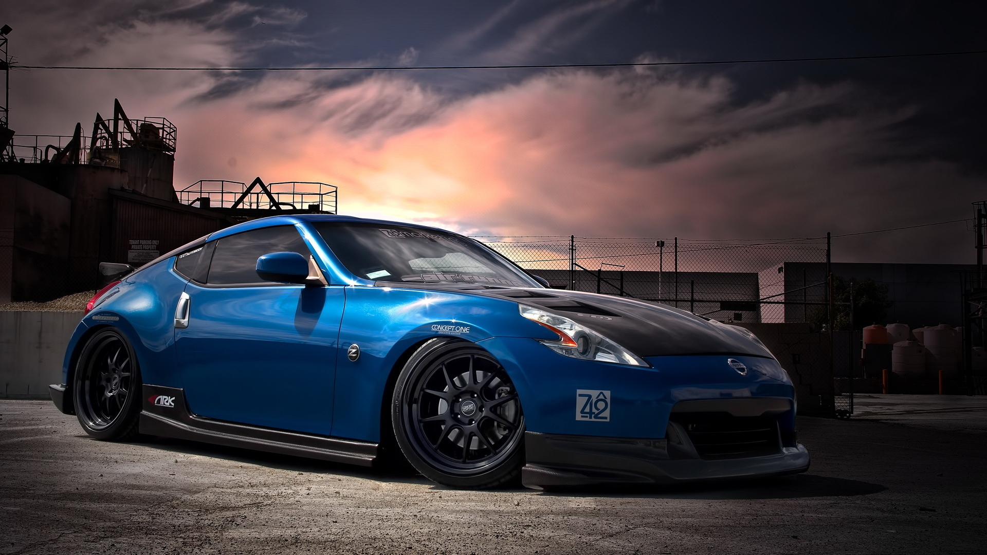 download wallpaper 1920x1080 nissan 370z tuning blue. Black Bedroom Furniture Sets. Home Design Ideas