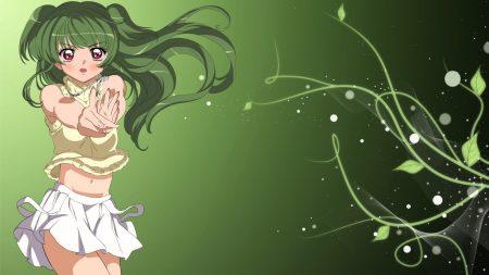 nukami, girl, green hair