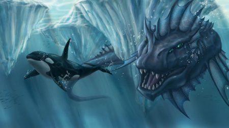 ocean, glaciers, whale