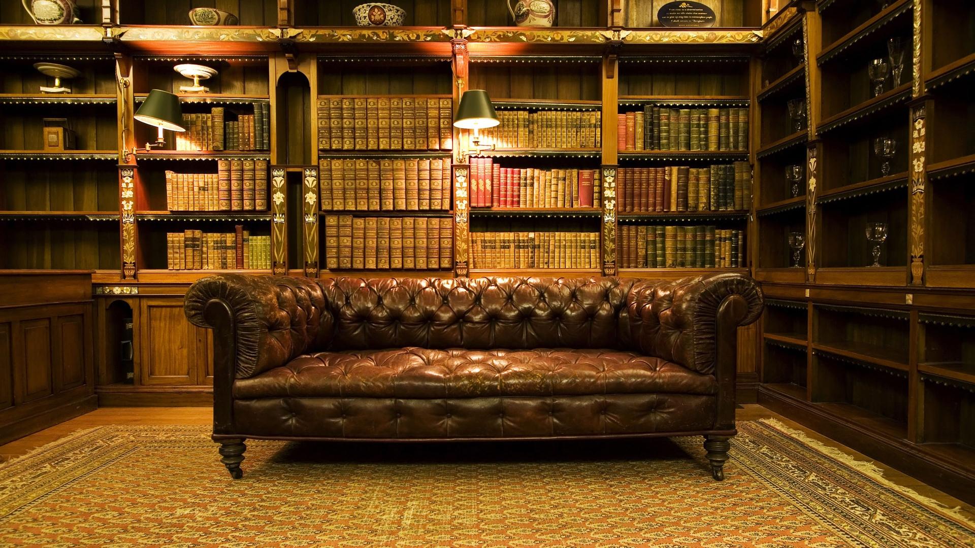 Download Wallpaper 1920x1080 Old Library, Design, Interior