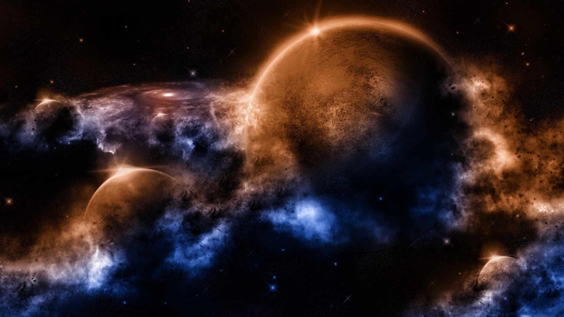 Download Wallpaper 1920x1080 Outer Space Planets Worlds Full HD