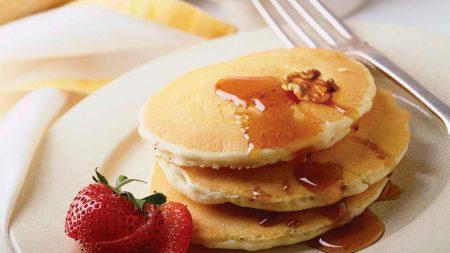 pancakes, breakfast, strawberry